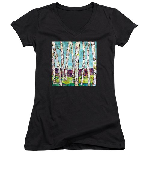 Birch Trees Women's V-Neck (Athletic Fit)