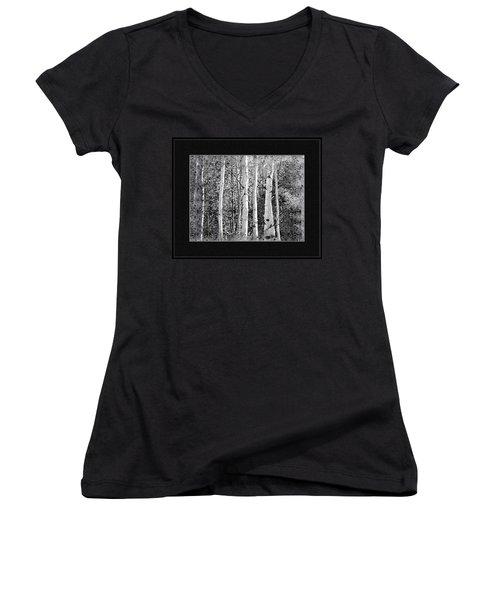Women's V-Neck T-Shirt (Junior Cut) featuring the photograph Birch Trees by Susan Kinney