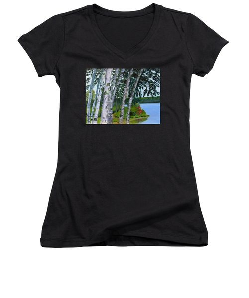 Birches At First Connecticut Lake Women's V-Neck (Athletic Fit)