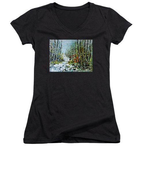 Women's V-Neck T-Shirt (Junior Cut) featuring the painting Birches Near Waterfall by AmaS Art