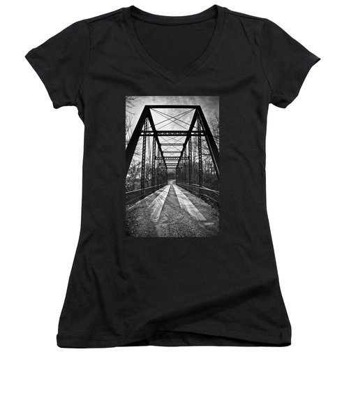 Bird Bridge Black And White Women's V-Neck T-Shirt