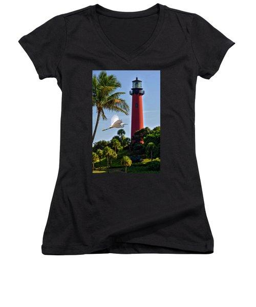 Bird In Flight Under Jupiter Lighthouse, Florida Women's V-Neck T-Shirt (Junior Cut) by Justin Kelefas