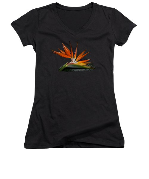 Women's V-Neck T-Shirt (Junior Cut) featuring the photograph Bird In Paradise by Debra and Dave Vanderlaan