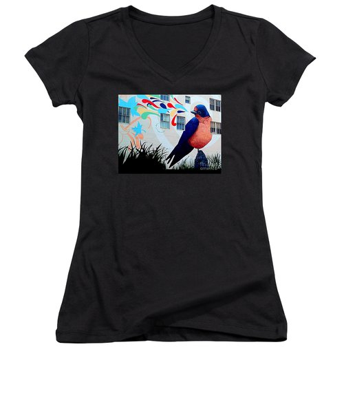 San Francisco Blue Bird Painting Mural In California Women's V-Neck (Athletic Fit)