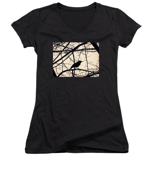 Bird Silhouette Women's V-Neck T-Shirt (Junior Cut) by Sarah Loft