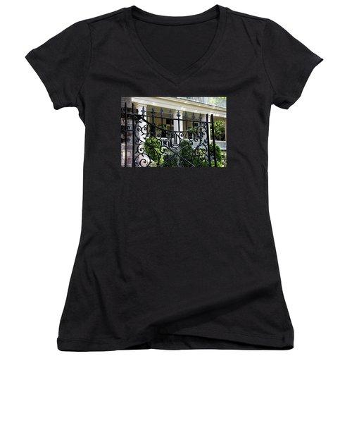 Bishop's Gate Women's V-Neck T-Shirt (Junior Cut) by Ed Waldrop