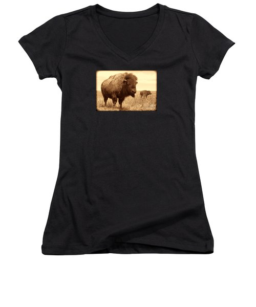 Bison And Calf Women's V-Neck T-Shirt (Junior Cut) by American West Legend By Olivier Le Queinec