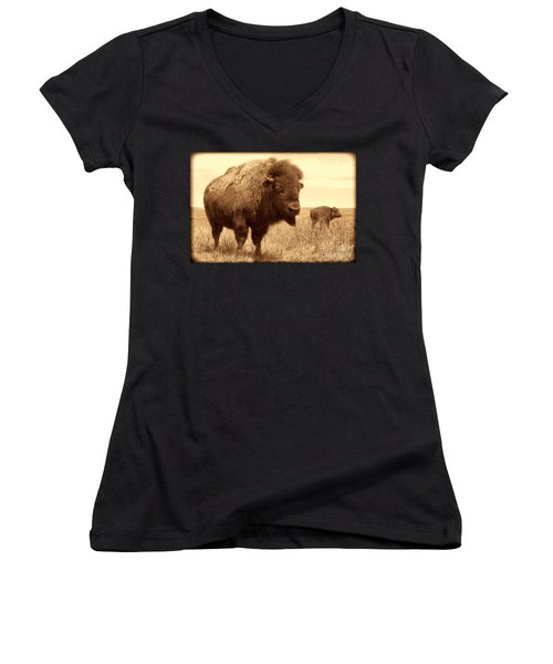 Bison And Calf Women's V-Neck