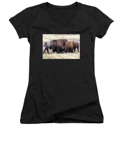 Bison Fight Women's V-Neck