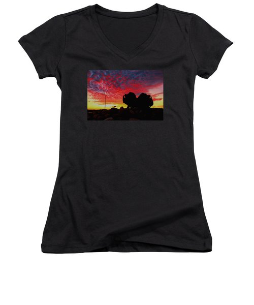Bison Sunset Women's V-Neck T-Shirt (Junior Cut) by Larry Trupp