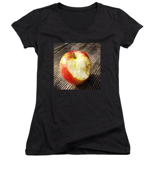 Bitten Red Apple Women's V-Neck