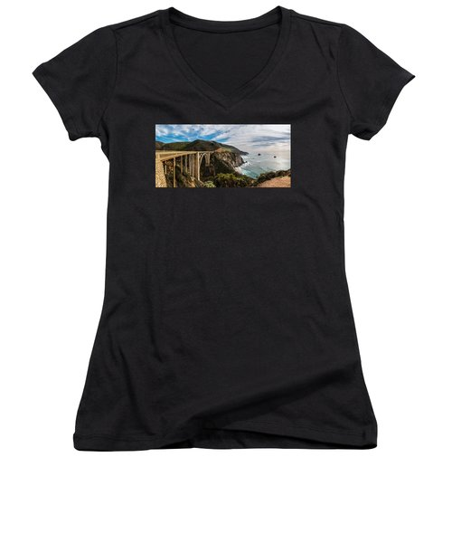 Bixby Creek Bridge Big Sur California  Women's V-Neck T-Shirt (Junior Cut)
