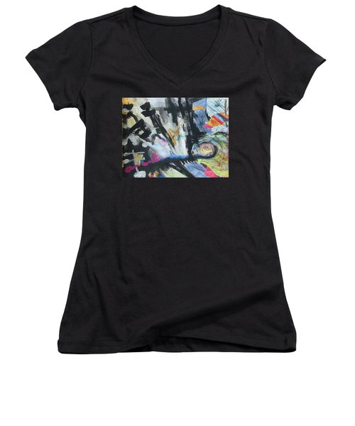 Black Abstract Women's V-Neck