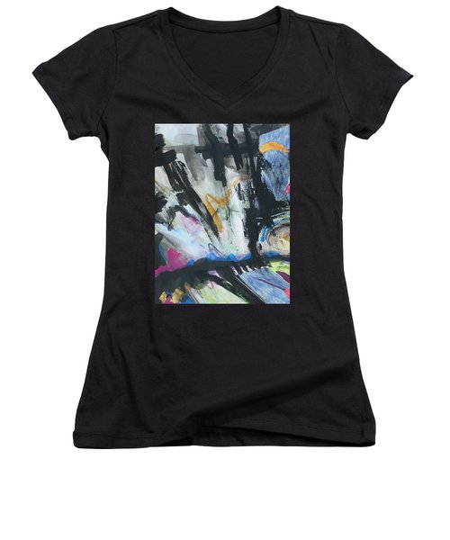 Black Abstract Women's V-Neck