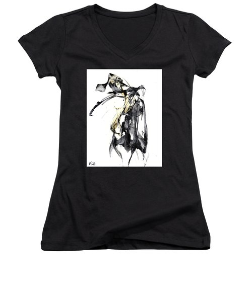 Black And White Abstract Expressionism Series 7344.072009 Women's V-Neck T-Shirt (Junior Cut) by Kris Haas