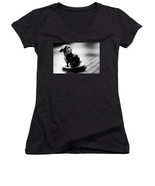 Black And White Brass Dachshund Women's V-Neck T-Shirt