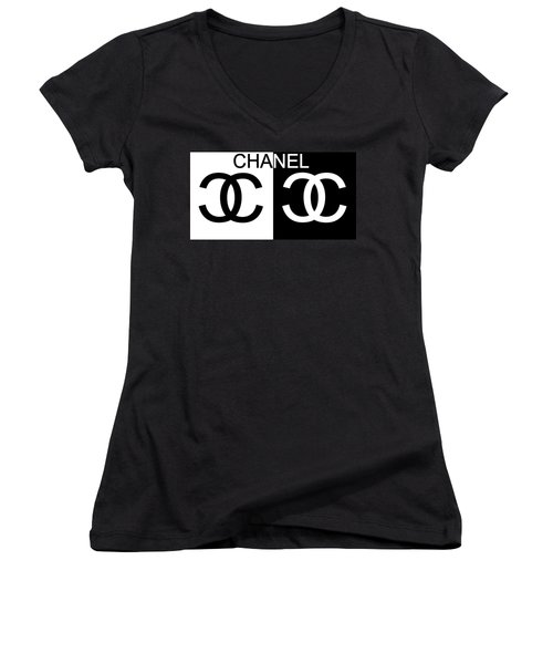 Women's V-Neck featuring the mixed media Black And White Chanel by Dan Sproul
