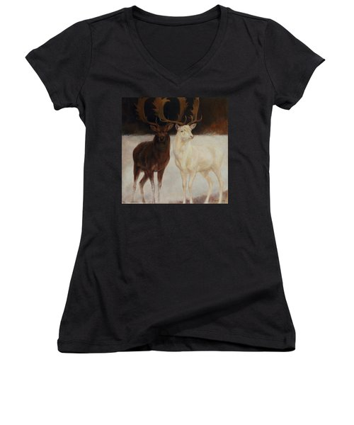 Black And White Fallow Deers Women's V-Neck