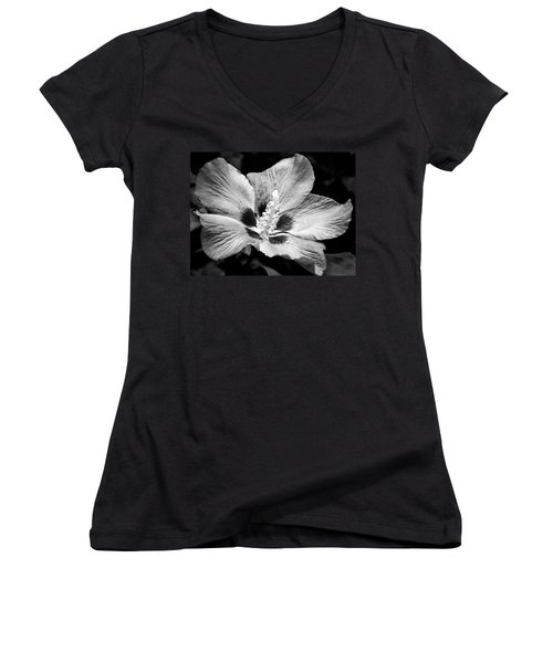 Black And White Hibiscus  Women's V-Neck T-Shirt (Junior Cut) by Karen Stahlros