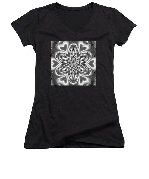 Women's V-Neck featuring the digital art Black And White Mandala 9 by Robert Thalmeier
