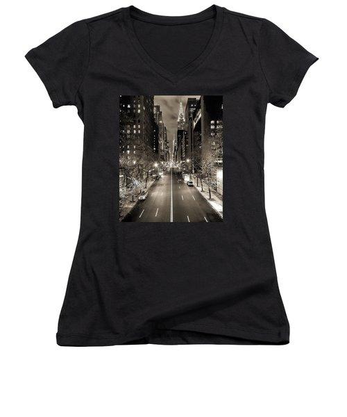 Black And White New York Women's V-Neck T-Shirt