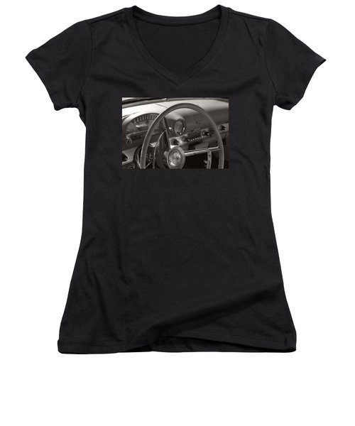 Black And White Thunderbird Steering Wheel  Women's V-Neck T-Shirt (Junior Cut) by Heather Kirk