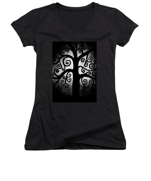 Black And White Tree Women's V-Neck (Athletic Fit)