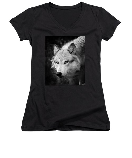 Black And White Wolf Women's V-Neck T-Shirt