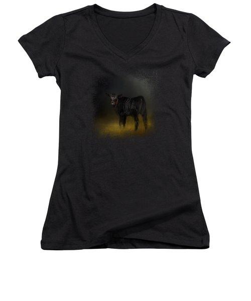Black Angus Calf In The Moonlight Women's V-Neck T-Shirt