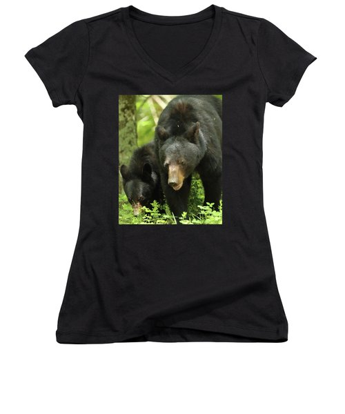 Women's V-Neck T-Shirt (Junior Cut) featuring the photograph Black Bear And Cub On Ground by Coby Cooper