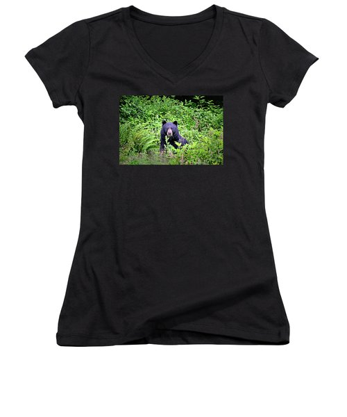 Women's V-Neck T-Shirt (Junior Cut) featuring the photograph Black Bear Eating His Veggies by Peggy Collins