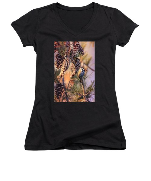 Women's V-Neck (Athletic Fit) featuring the photograph Black-capped Chickadee by Peter Lakomy