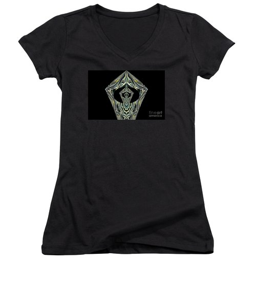 Women's V-Neck T-Shirt (Junior Cut) featuring the photograph Black Enigma by Oksana Semenchenko