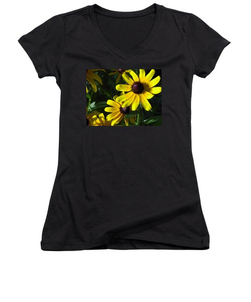 Black Eyed Susan Women's V-Neck T-Shirt (Junior Cut) by Mary-Lee Sanders