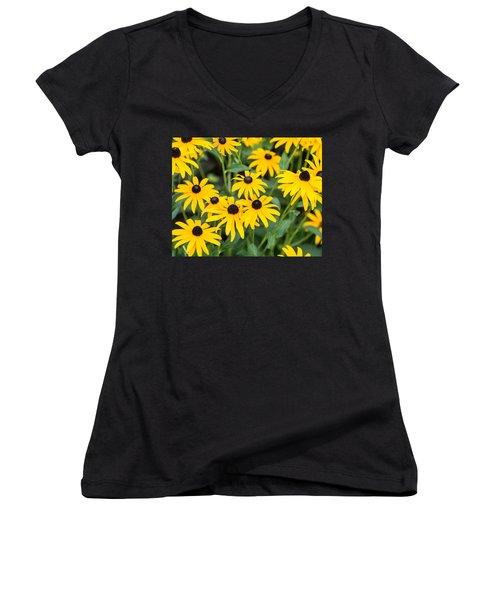 Women's V-Neck T-Shirt (Junior Cut) featuring the photograph Black-eyed Susan Up Close by E Faithe Lester