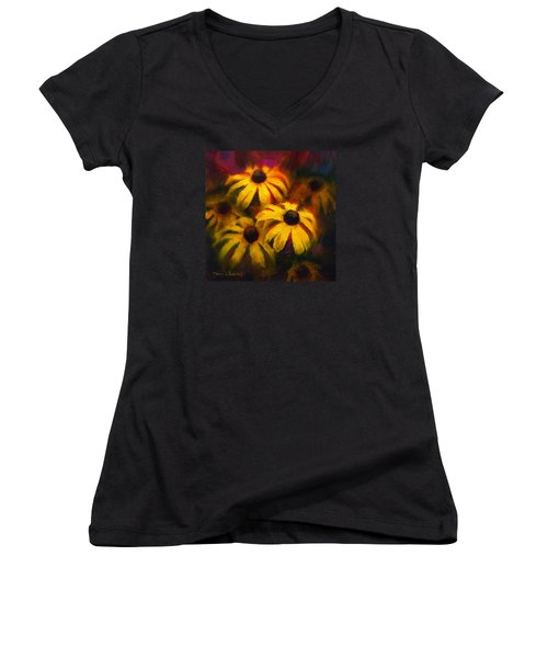 Women's V-Neck T-Shirt (Junior Cut) featuring the painting Black Eyed Susans - Vibrant Flowers by Karen Whitworth