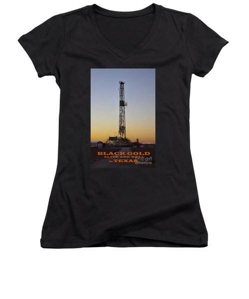 Black Gold Women's V-Neck (Athletic Fit)