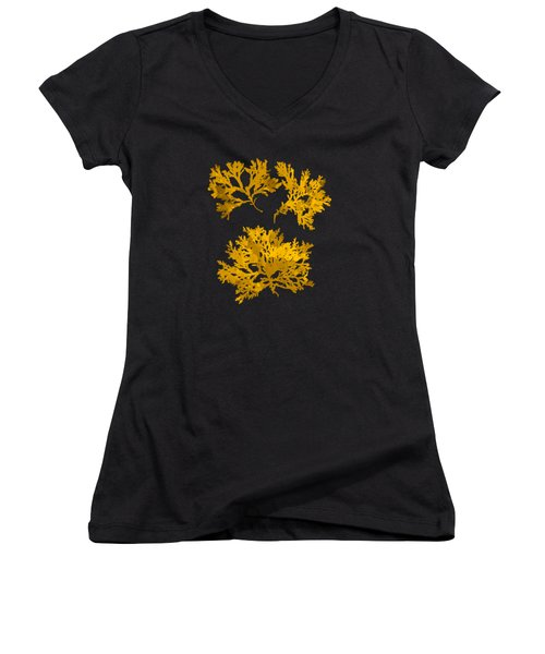 Women's V-Neck T-Shirt (Junior Cut) featuring the mixed media Black Gold Leaf Pattern by Christina Rollo