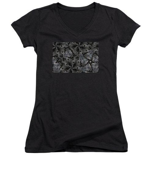 Black Granite Kaleido 3 Women's V-Neck T-Shirt (Junior Cut) by Peter J Sucy