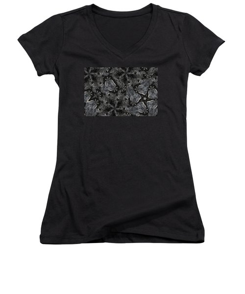 Black Granite Kaleido 3 Women's V-Neck T-Shirt