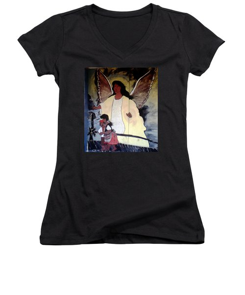Black Guardian Angel Mural Women's V-Neck T-Shirt