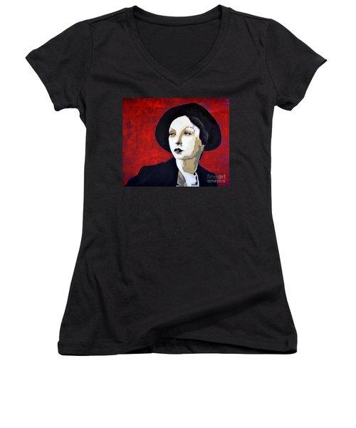 Black Hat Women's V-Neck T-Shirt (Junior Cut)