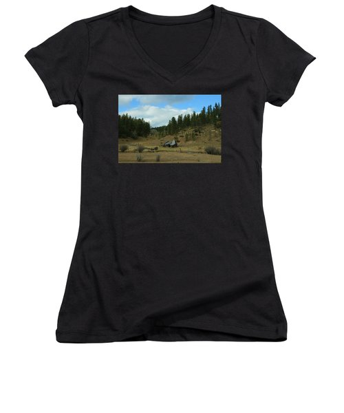 Black Hills Broken Down Cabin Women's V-Neck