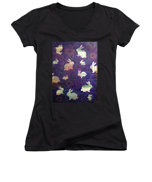 Black Holes And Bunnies Women's V-Neck (Athletic Fit)