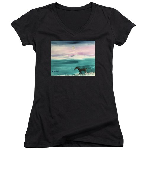 Black Horse Follows The Moon Women's V-Neck (Athletic Fit)