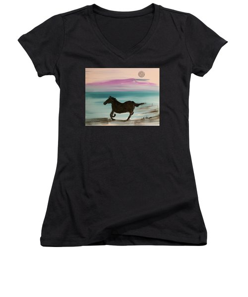 Black Horse With Moon Women's V-Neck (Athletic Fit)