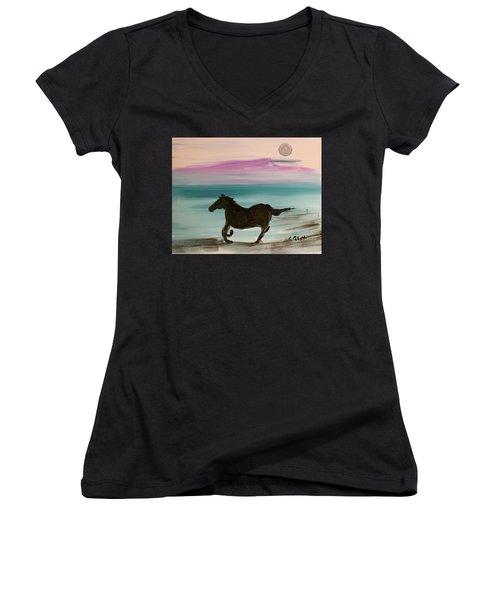 Black Horse With Moon Women's V-Neck T-Shirt