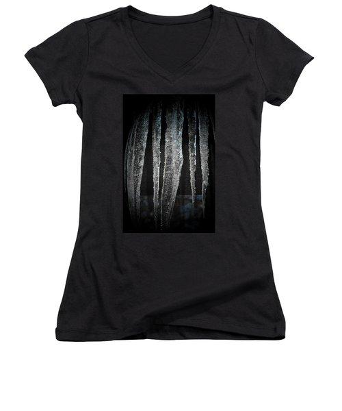 Women's V-Neck T-Shirt (Junior Cut) featuring the digital art Black Ice by Barbara S Nickerson