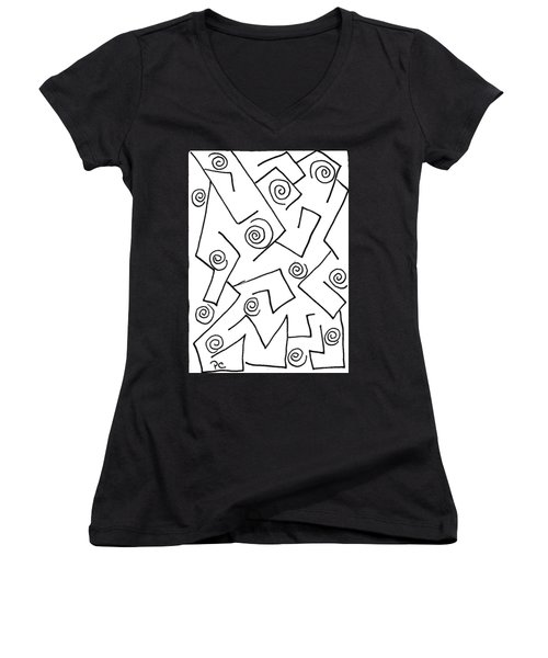 Black Ink Abstract Women's V-Neck T-Shirt (Junior Cut) by Patricia Cleasby