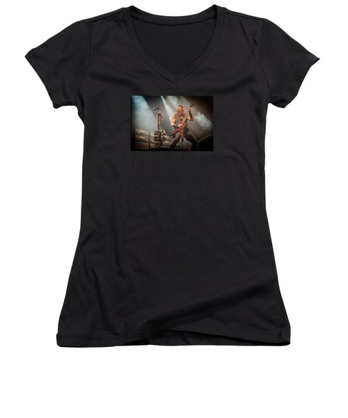 Women's V-Neck T-Shirt (Junior Cut) featuring the photograph Black Label Society II by Stefan Nielsen